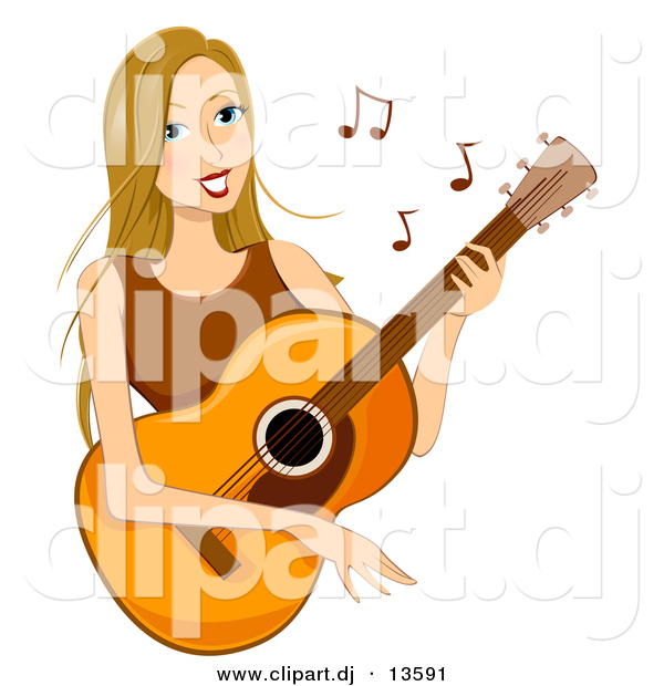 Cartoon Vector Clipart of a Happy Girl Playing Acoustic Guitar