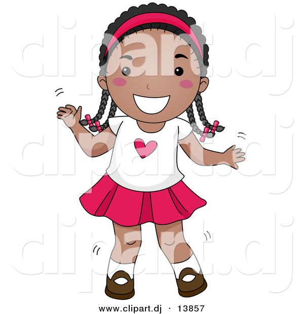 Cartoon Vector Clipart of a Happy Young Black Girl Dancing