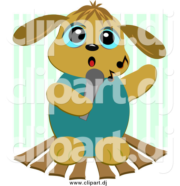 Cartoon Vector Clipart of a Karaoke Dog Singing Against Green Stripes