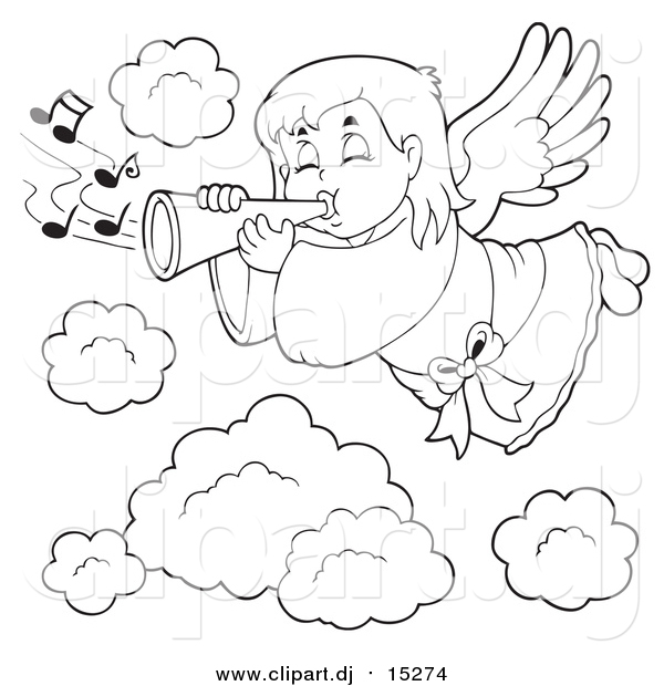 Cartoon Vector Clipart of a Lineart Angel Girl Playing a Trumpet in Heaven