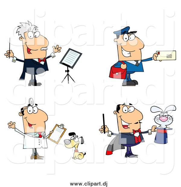 Cartoon Vector Clipart of a Music Conductor Mailman Veterinarian and Magician