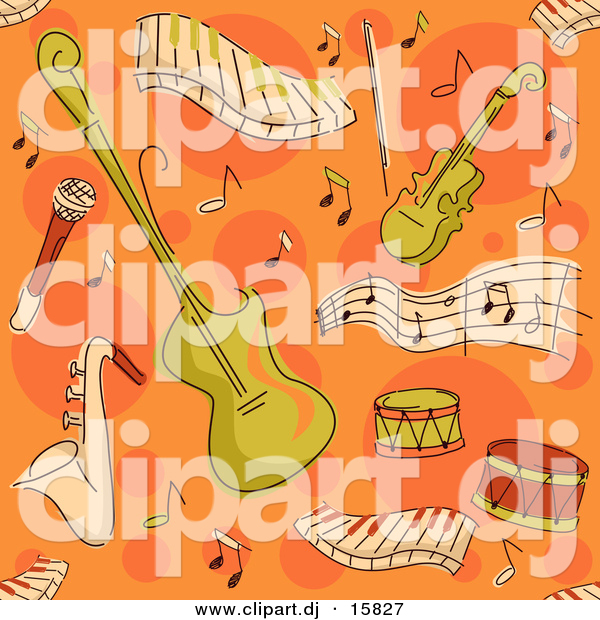 Cartoon Vector Clipart of a Music Instrument Pattern - Seamless Orange Background