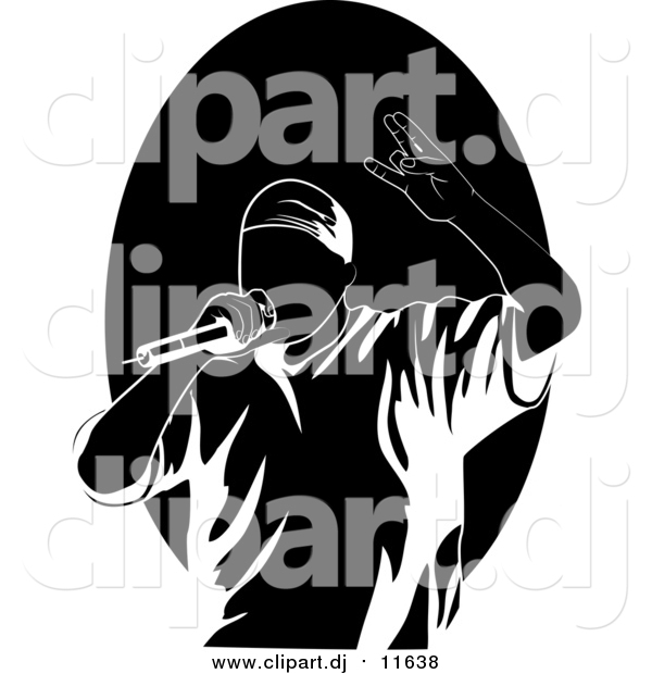 Cartoon Vector Clipart of a Performing Black and White Rapper or Hip Hop Artist Singing into a Microphone