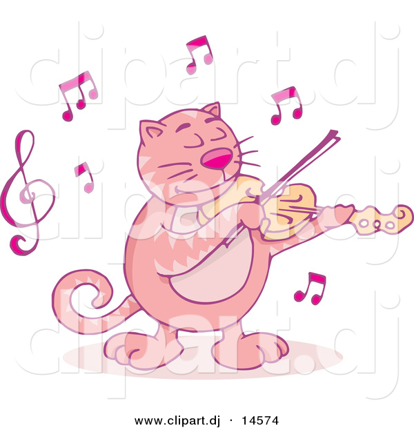Cartoon Vector Clipart of a Pink Cartoon Cat Playing Violin