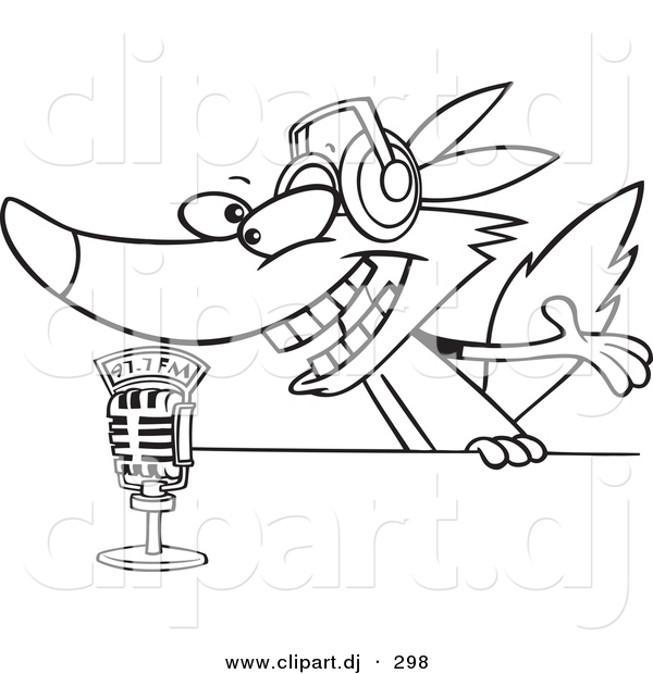 Cartoon Vector Clipart of a Radio Wolf Talking into a Microphone - Line Art Coloring Page Outline