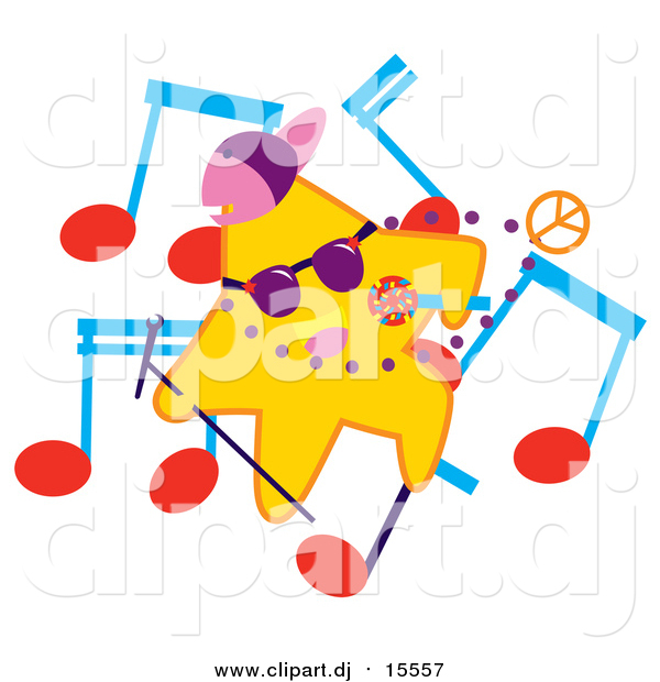 Cartoon Vector Clipart of a Rapper Star with Music Notes