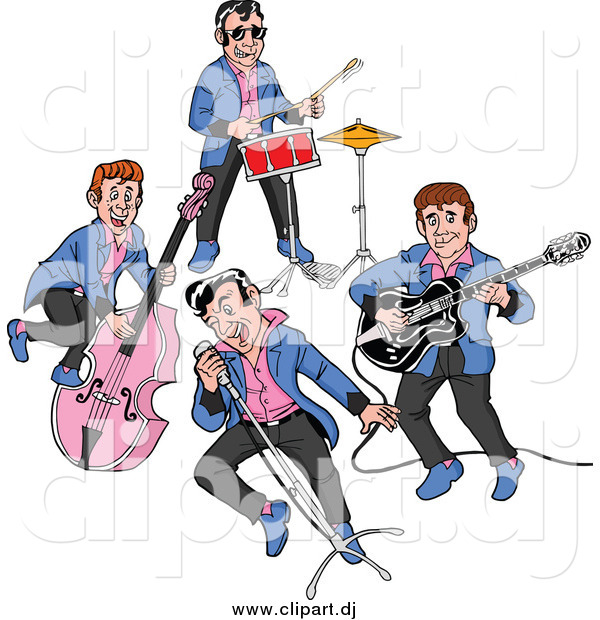 Cartoon Vector Clipart of a Rockabilly Music Band Singing and Playing the Bass Drums and Guitar