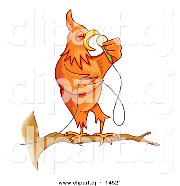 Cartoon Vector Clipart of a Singing Cartoon Canary Bird on a Branch