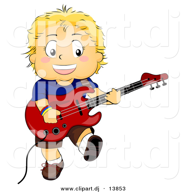 Cartoon Vector Clipart of a Smiling Boy Playing Electric Guitar