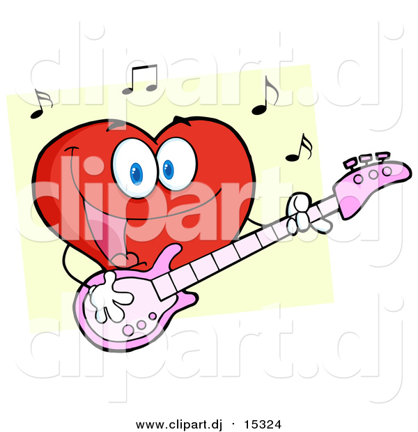 Cartoon Vector Clipart of a Smiling Love Heart Cartoon Character Playing Guitar