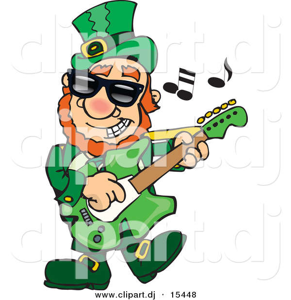 Cartoon Vector Clipart of a St. Patrick's Day Leprechaun Playing a Guitar