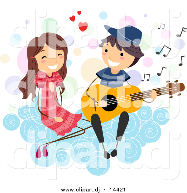 Cartoon Vector Clipart of a Stick Figure Boy Serenading a Girl on a Cloud with Guitar