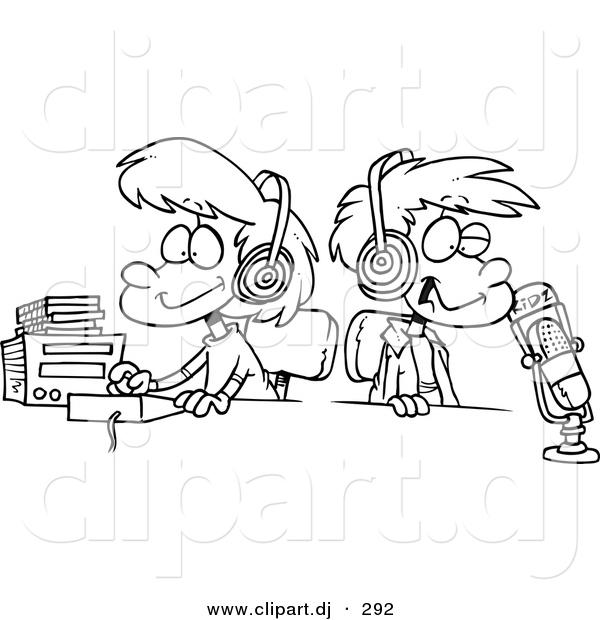 Cartoon Vector Clipart Of A Two DJ Kids In Studio Wearing Headphones