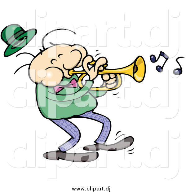 Cartoon Vector Clipart of a White Male Trumpet Musician in a Dark Green Shirt