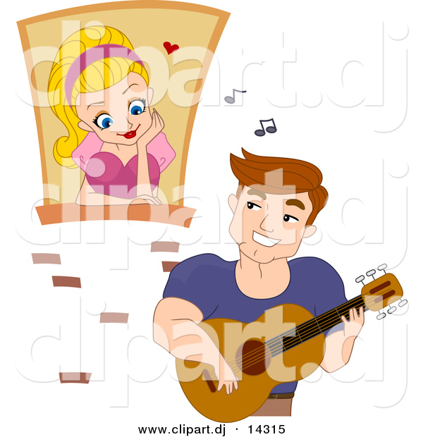 Cartoon Vector Clipart of a Young Man Playing Music to Girl Watching from a Window in a Castle