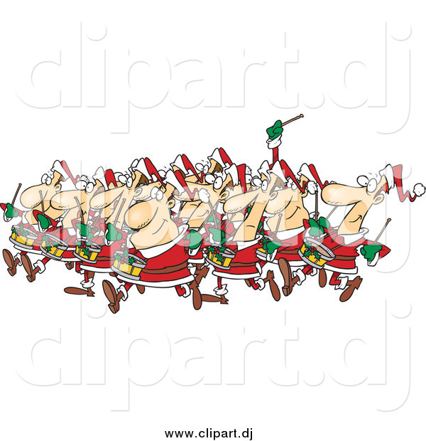 Cartoon Vector Clipart of Christmas Drummers Drumming
