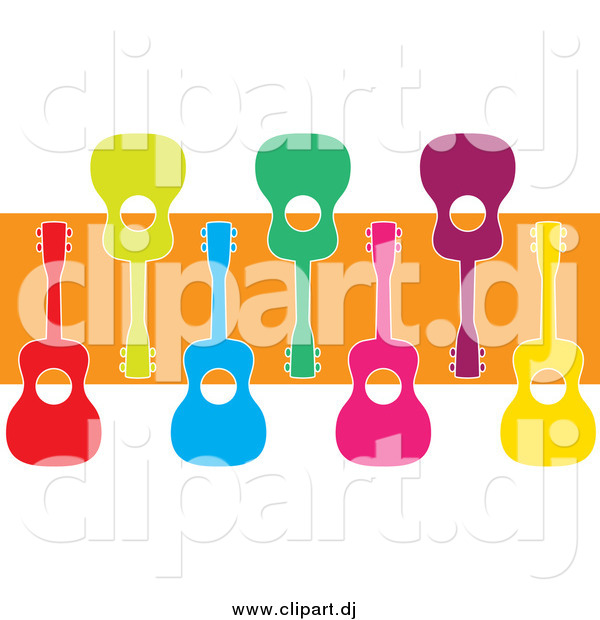 Cartoon Vector Clipart of Colorful Ukuleles and an Orange Stripe