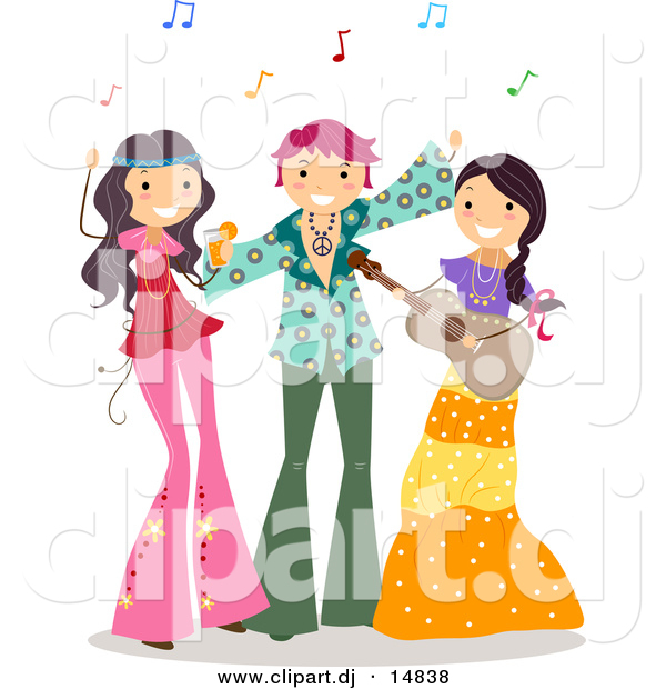 Cartoon Vector Clipart of Happy Teens at a Hippie Themed Party with Music
