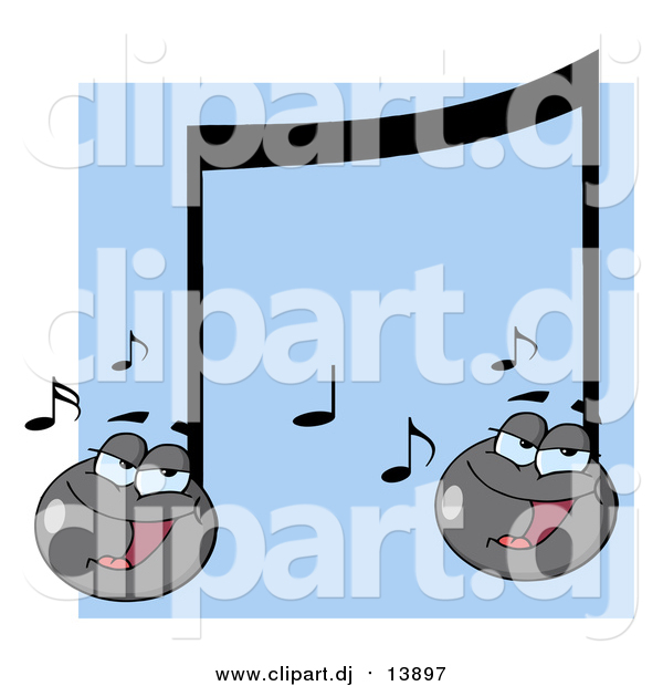 Cartoon Vector Clipart of Singing Music Notes over Blue