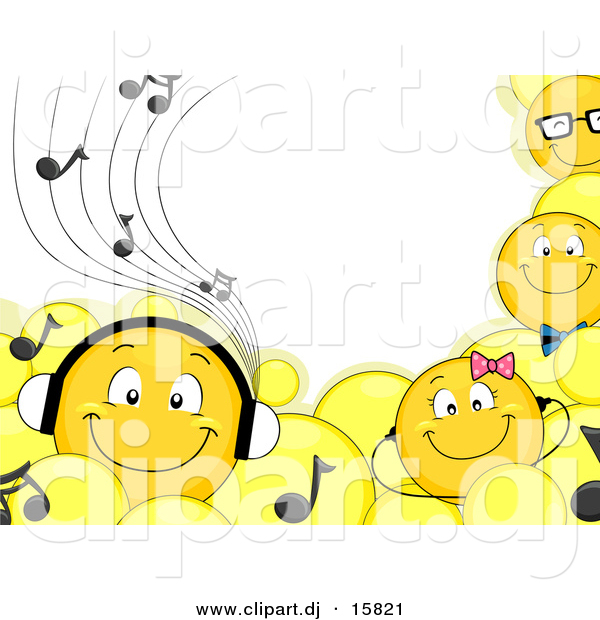 Cartoon Vector Clipart of Smiling Emoticons Wearing Headphones and Music Notes - Border Background Design with Blank Copyspace