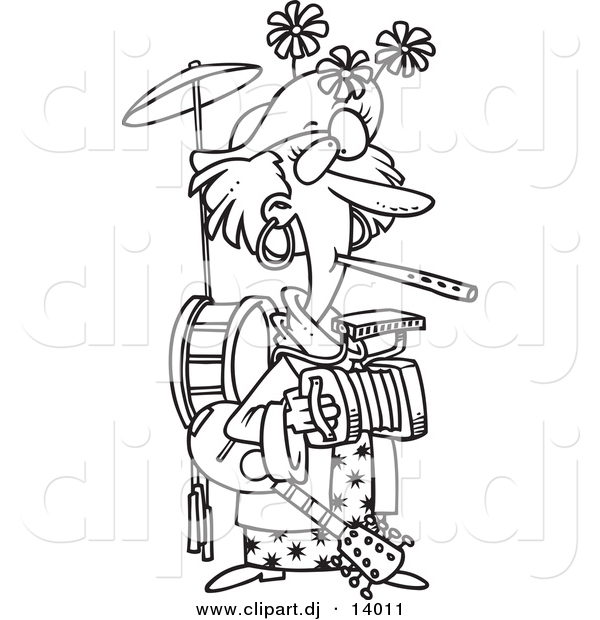 Cartoon Vector of One Woman Band - Coloring Page Outline
