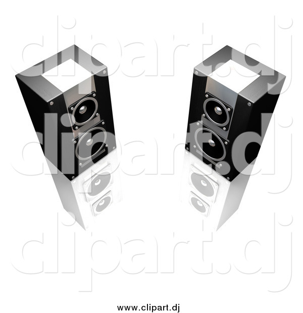 Clipart of 3d Black and Silver Stereo Speakers Facing Slightly Towards Each Other, on a Reflective White Surface