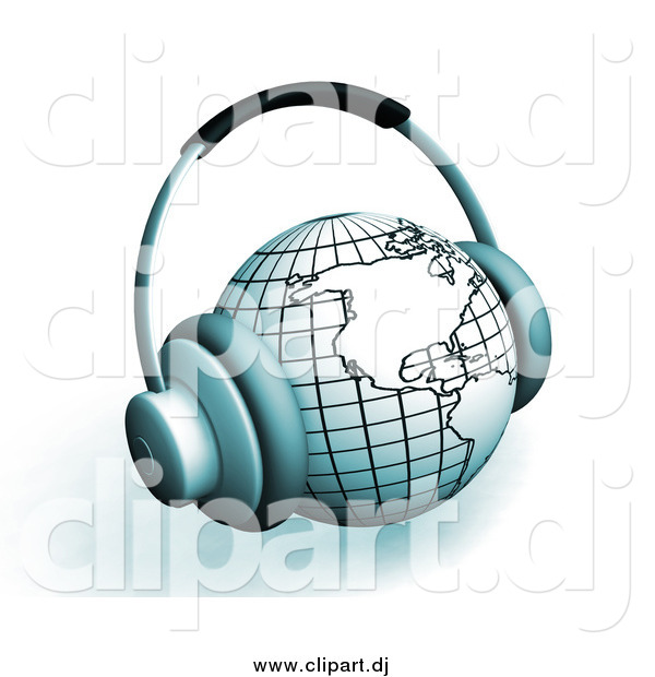 Clipart of 3d Headphones on a Globe Featuring the Americas, over White