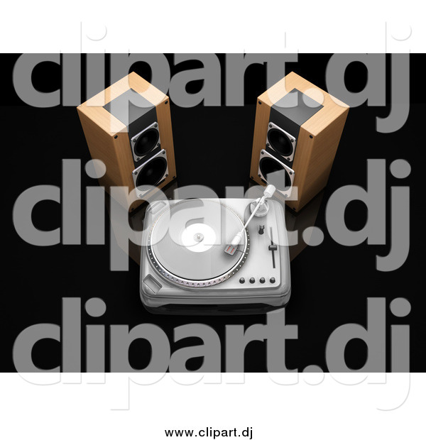 Clipart of 3d Stereo Speakers Beside a Turntable Playing a Record, on a Black Reflective Surface