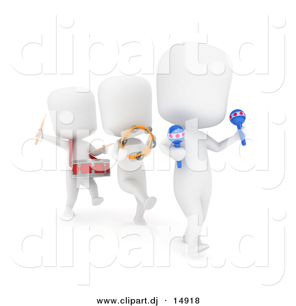 Clipart of 3d White Kids in a Marching Band