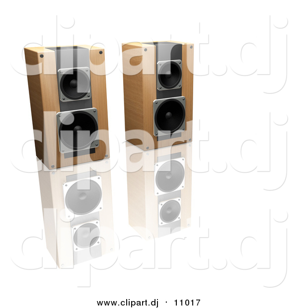Clipart of 3d Wooden Stereo Speakers Side by Side on a Reflective White Surface