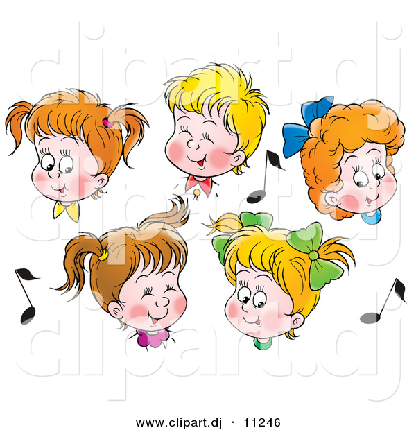 Clipart of 5 Cartoon Boys and Girls in Choir, Singing