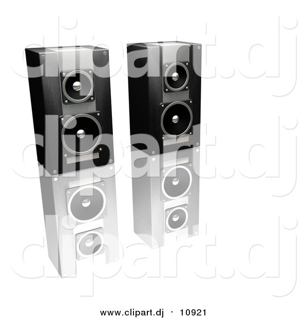 Clipart of a 3d Black and Silver Stereo Speakers