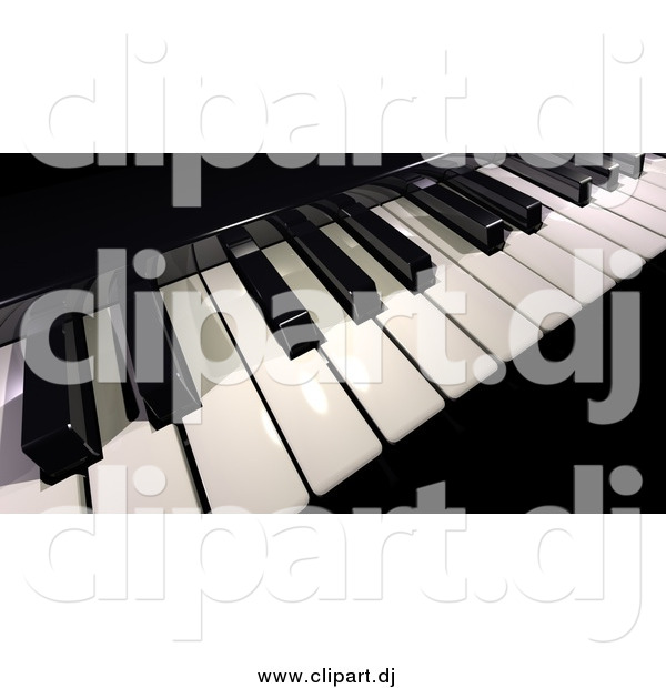 Clipart of a 3d Black and White Piano Keyboard