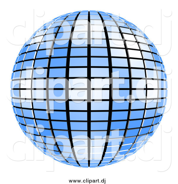 Clipart of a 3d Blue Mirror Disco Ball on White