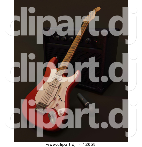 Clipart of a 3d Electric Guitar by a Music Speaker and Microphone