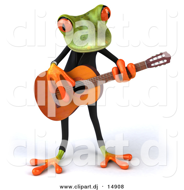 Clipart of a 3d Frog Playing Guitar
