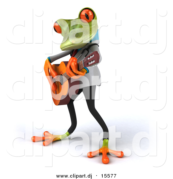 Clipart of a 3d Green Doctor Frog Guitarist