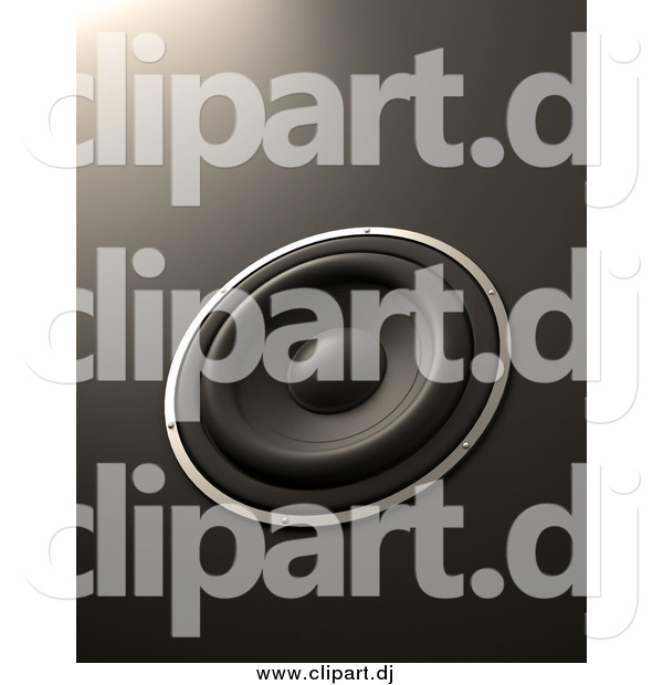 Clipart of a 3d Music Speaker on Gray