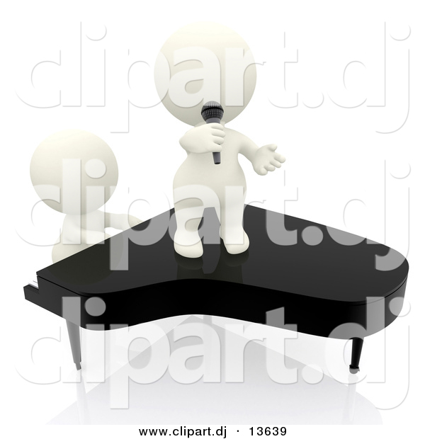 Clipart of a 3d People Singing and Playing Piano Together