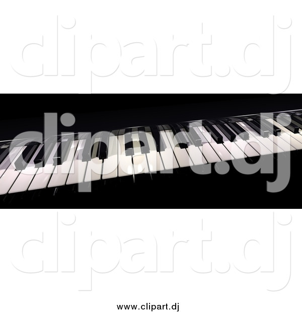 Clipart of a 3d Piano Board with Keys