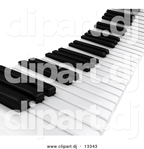 Clipart of a 3d Piano Keyboard Keys