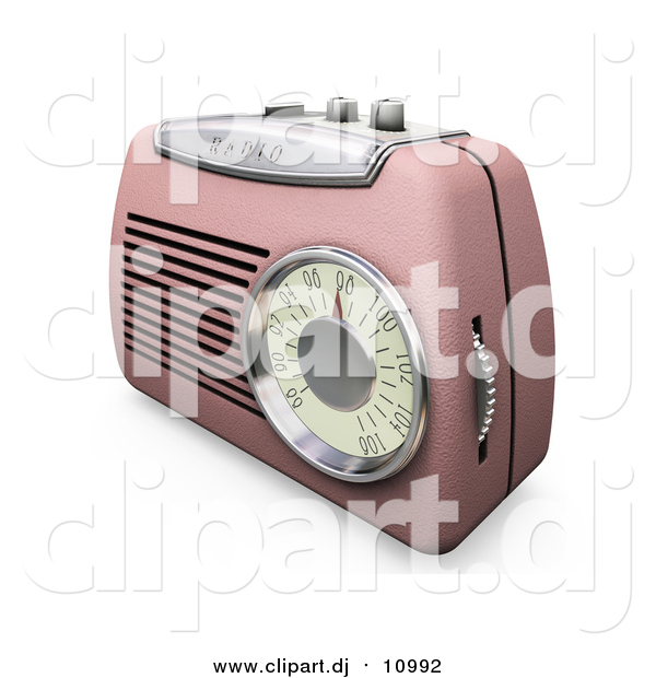 Clipart of a 3d Pink Radio with a Station Dial, on a White Surface