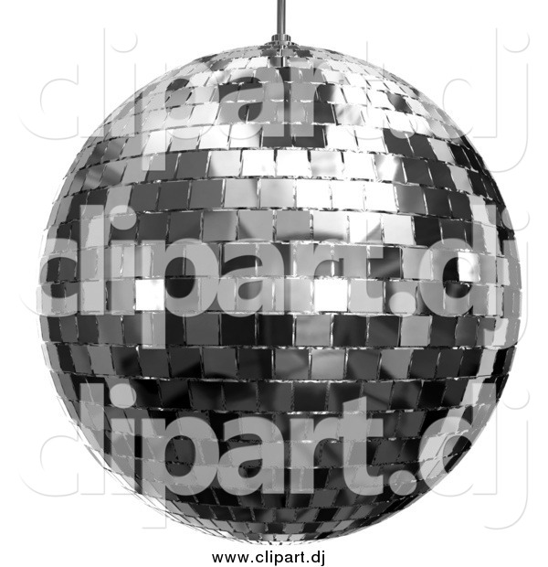 Clipart of a 3d Platinum Disco Ball over White