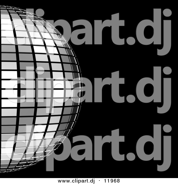 Clipart of a 3d Platinum Mirror Disco Ball on Black