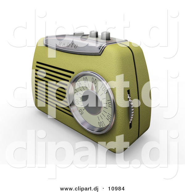 Clipart of a 3d Retro Radio with a Station Dial, on a White Surface