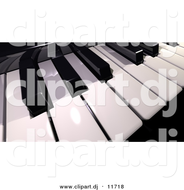 Clipart of a 3d Shiny Piano Keyboard