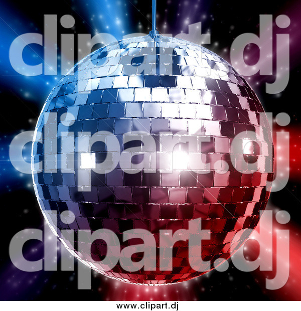 Clipart of a 3d Silver Disco Ball over Red and Blue Lights on Black