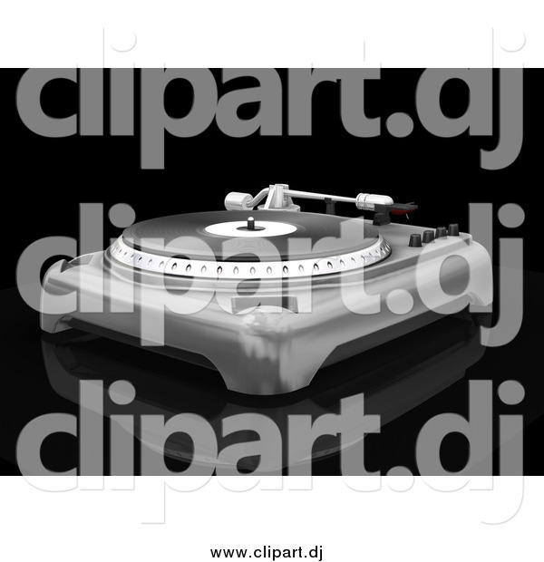 Clipart of a 3d Silver Record Player with the Spinning Table, Needle and Knobs, on a Reflective Black Surface
