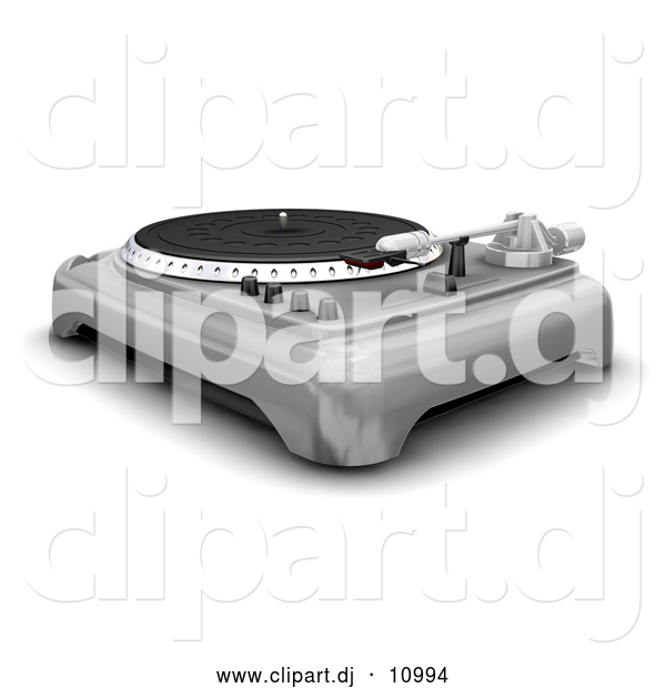 Clipart of a 3d Silver Turntable with Spinner, Needle and Knobs