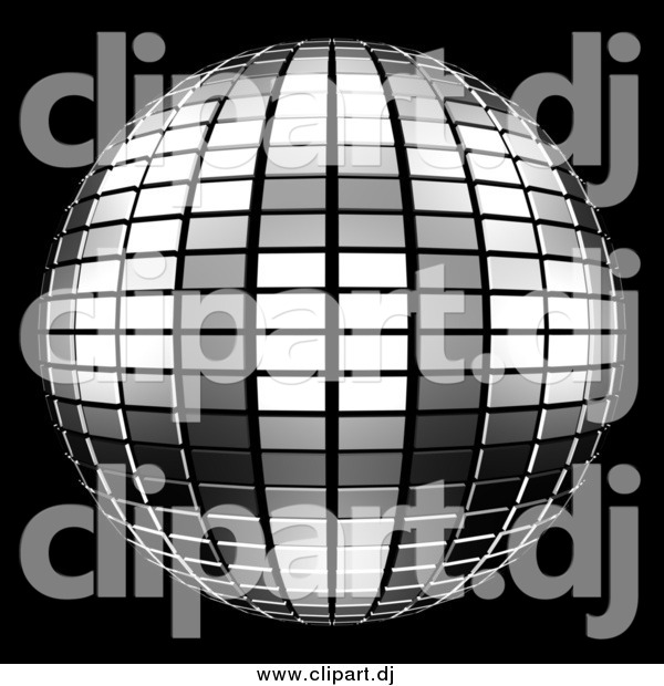 Clipart of a 3d Tiled Silver Mirror Disco Ball on Black
